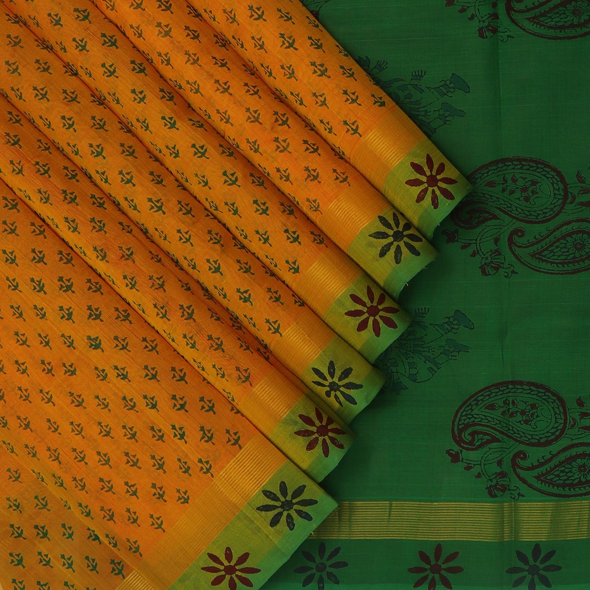 Printed Silk Cotton Saree Honey Color and Green with Simple Flower border