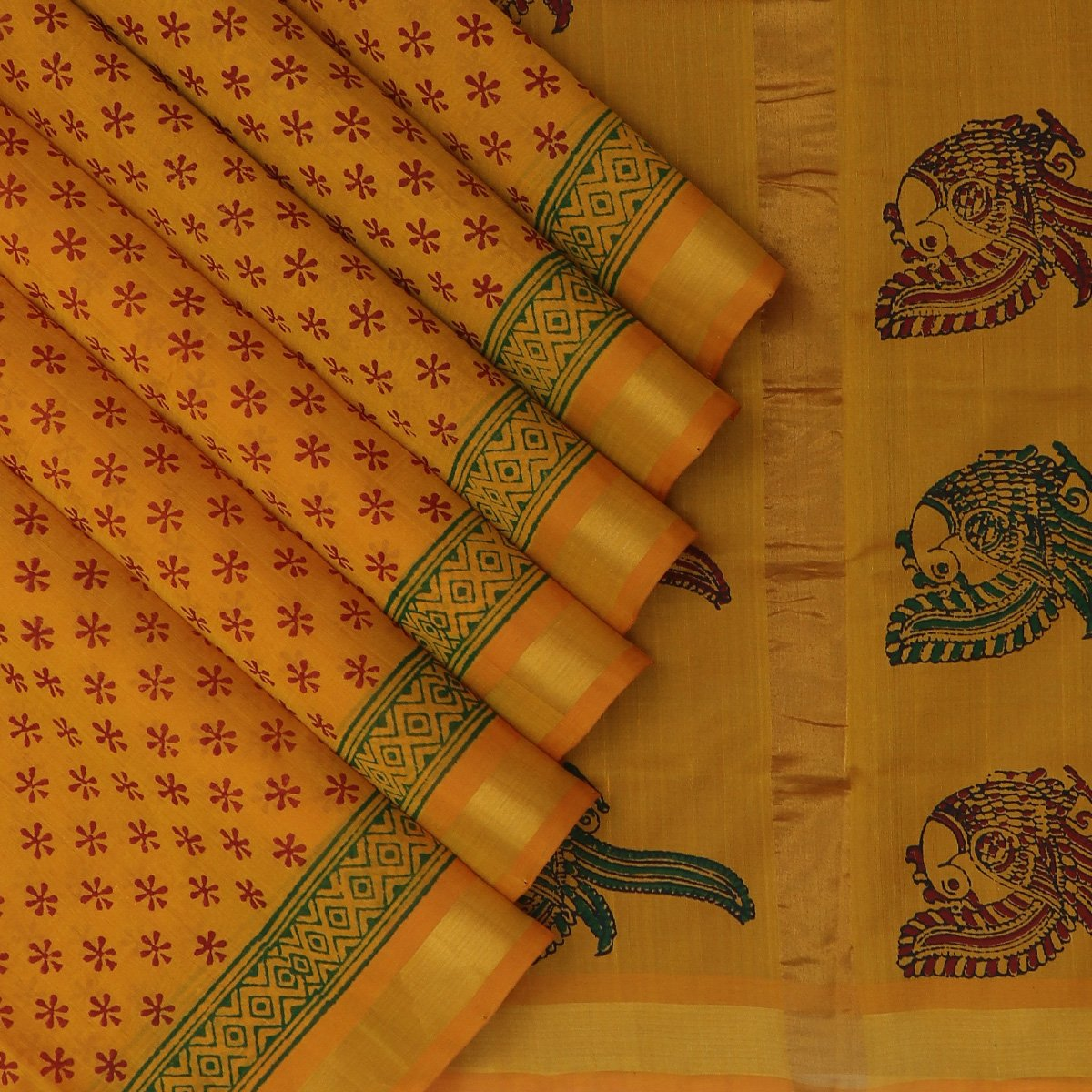 Printed Silk Cotton Saree Honey color with Simple Zari border