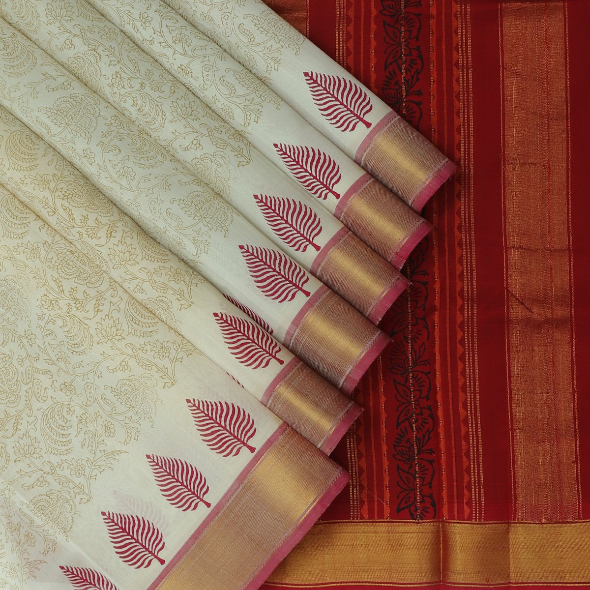Printed Silk Cotton Saree White and Maroon with zari border