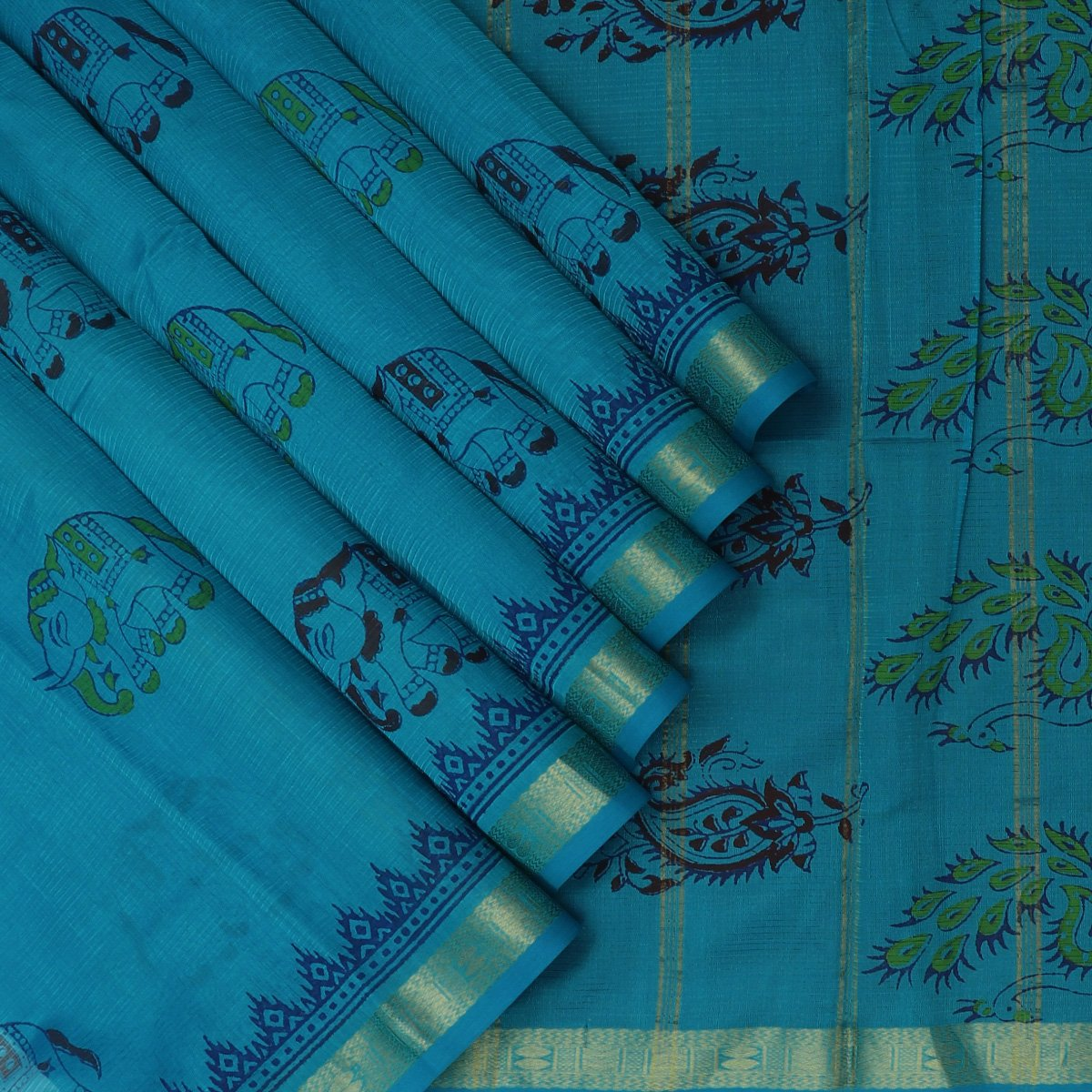 Printed Silk Cotton Saree Sky Blue with Rudraksha Border
