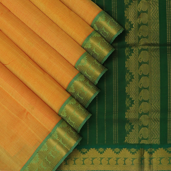 Silk Cotton Saree Yellow and Green with Buttas and Temple and Mango Zari border