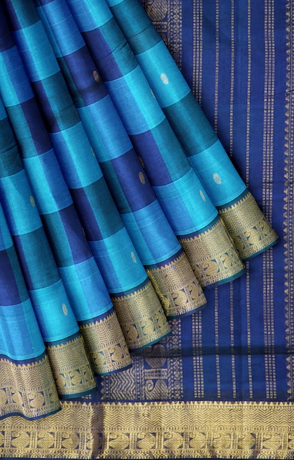 Silk Cotton Saree blue with navy blue paalum pazhamum checks