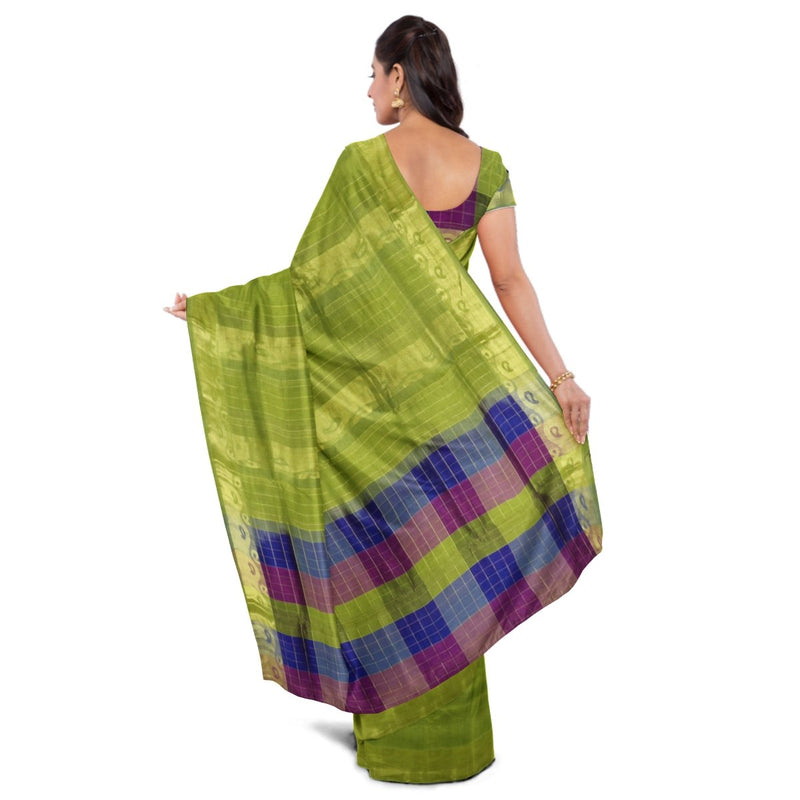 Silk Cotton saree Mehandi Green and Checked blue with violet and mango Zari border 9 Yards