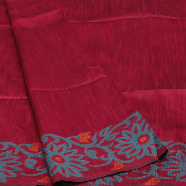 Semi raw silk saree Maroon and Blue with Flower border