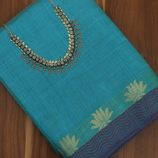 Raw Silk Saree Sky Blue and Maroon with simple wave border and jewel