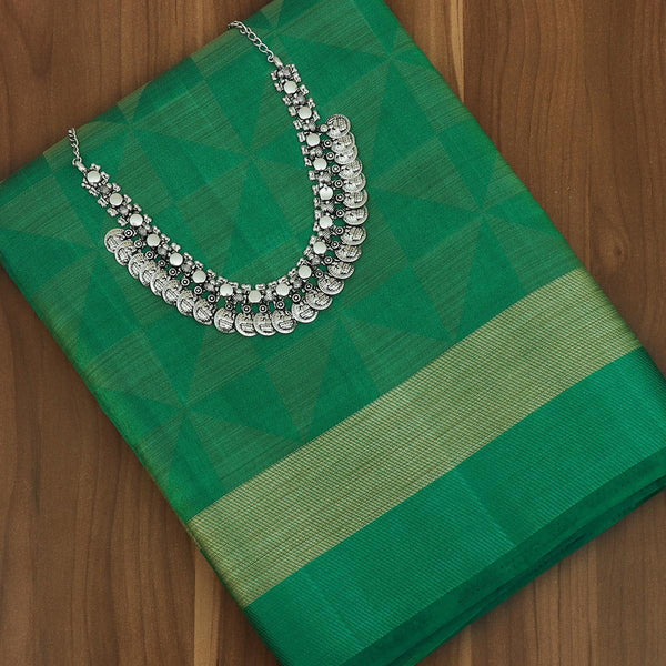 Raw Silk Saree Green Shade with simple border and jewel