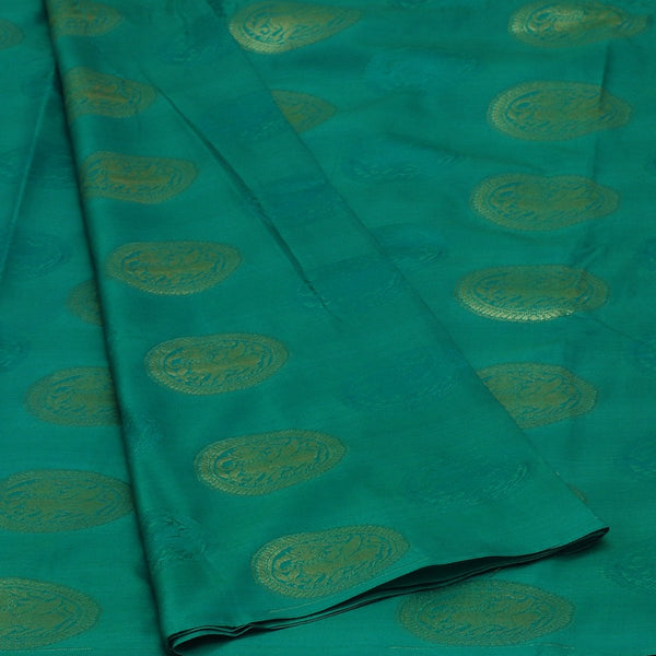 Art Silk Saree Green and Orange with Round Gold Butta and Pink  with Simple border