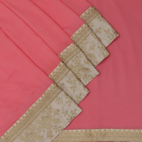 Fancy Saree Brick Color with Embroidery border