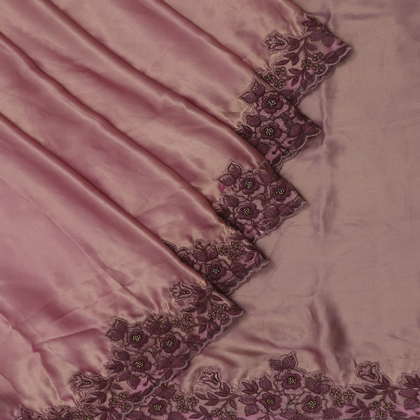 Fancy Saree Dual shade of Grape color with Floral Embroidery border