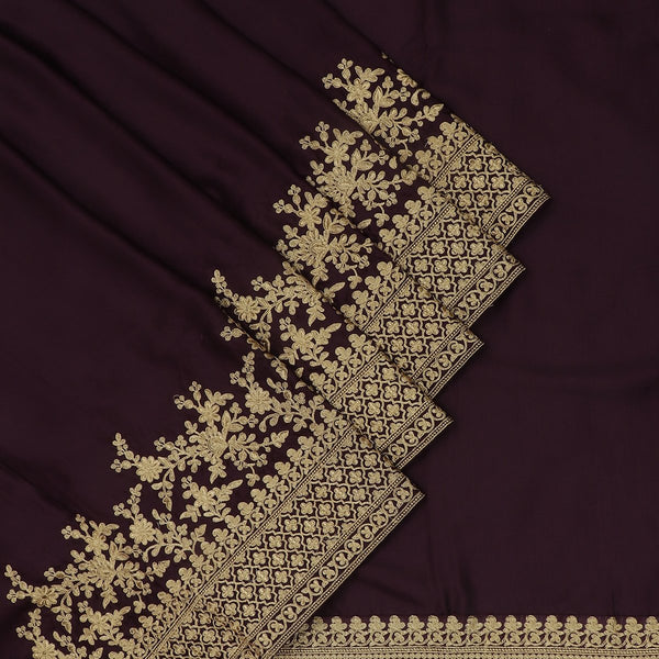 Fancy  Saree Raisin Color with Floral Embroidery border