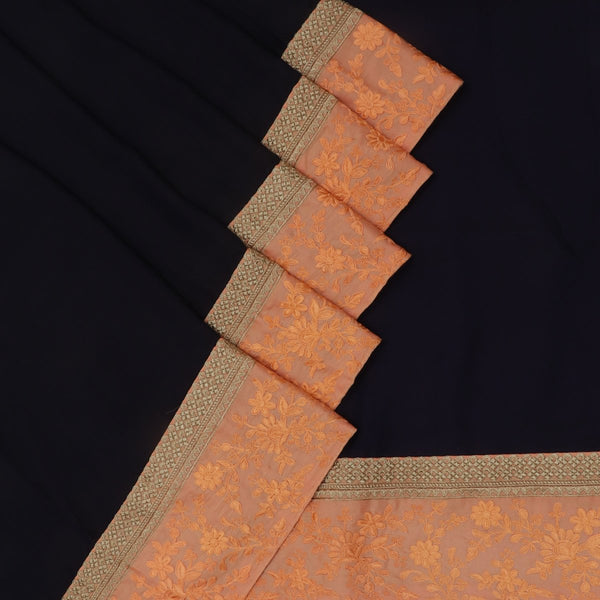 Fancy Saree Dark blue and Orange with Embroidery border