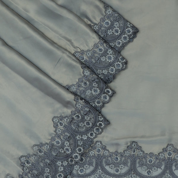 Fancy Saree Grey with Embroidery border