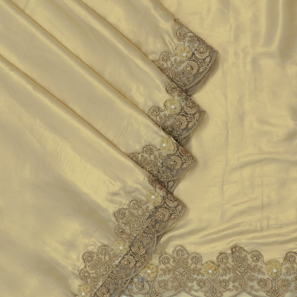 Fancy Saree Macaroon Beige with Floral Embroidery border