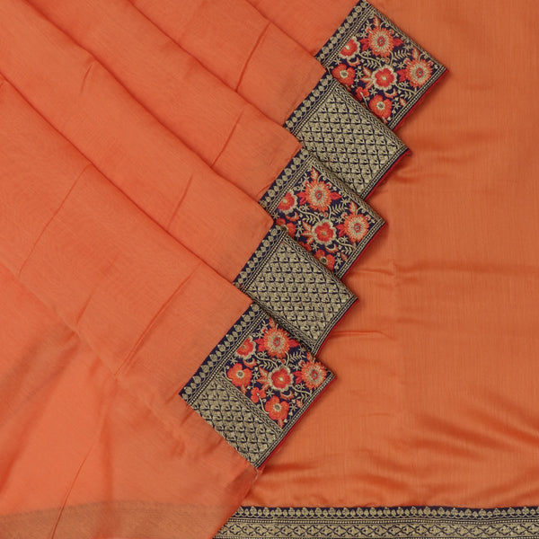 Fancy Saree Orange and Blue with Embroidery border