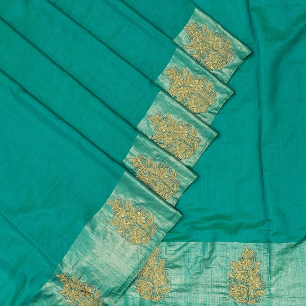 Fancy Saree Peacock blue with Embroidery border