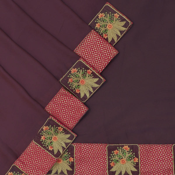 Fancy Saree Light Brown and Pink with Embroidery border