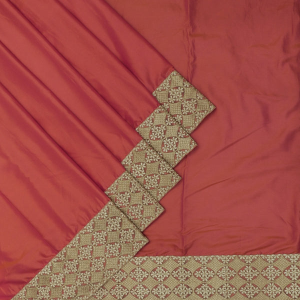 Fancy Saree Dual Shade of Brick orange with Embroidery border