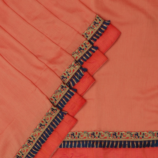 Fancy Saree Light Orange with Patch border