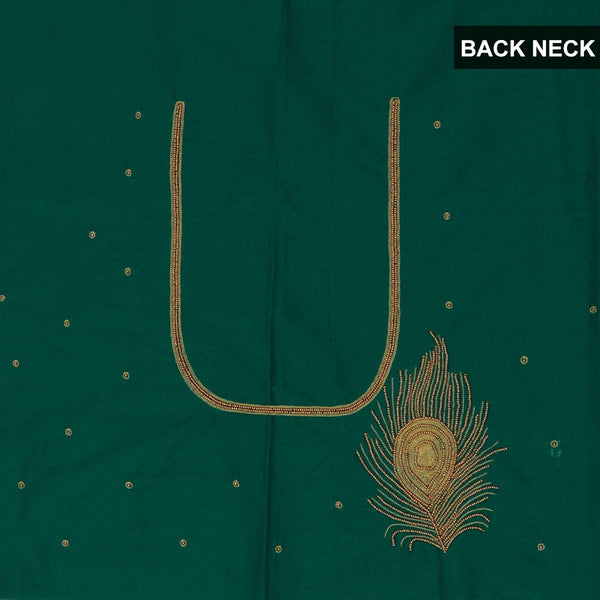 Blouse Material - Silk Cotton Green with Embroidery work