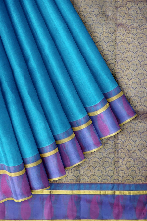 Kanjivaram Silk Saree Cerulean Blue with embossed and Thread Mango with Zari Border