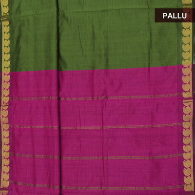 Blended Cotton Saree Green and Pink with Mango zari border 9 yards