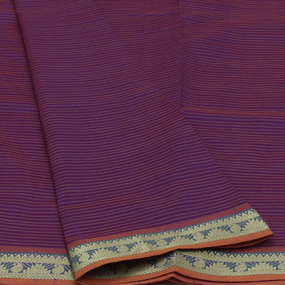 Blended Cotton Saree Violet and Mustard with Temple zari border