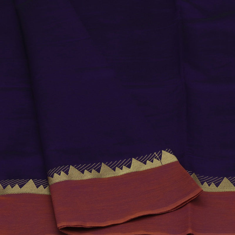 Blended Cotton Saree Violet and Dark Mustard with Temple zari border 9 Yard
