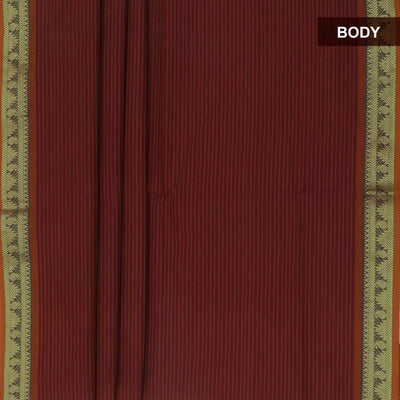 Blended Cotton Saree Maroon and Mustard with Temple zari border