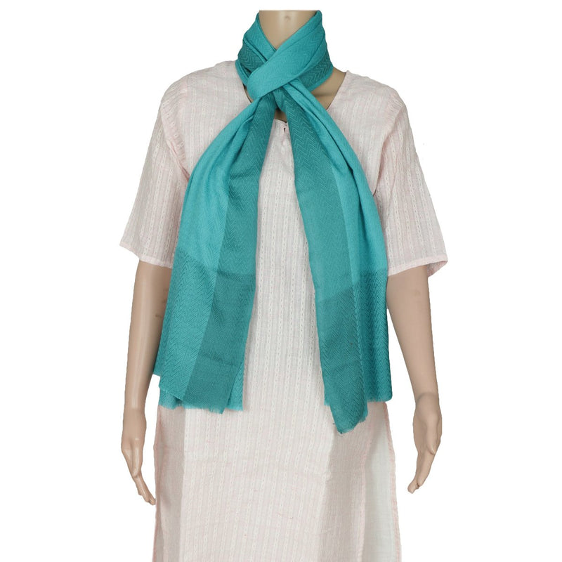 Pure Pashmina Stole Sea Green with Simple design