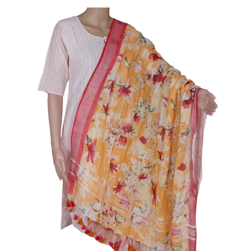 Digital Printed linen Dupatta Yellow and Pink With zari Border