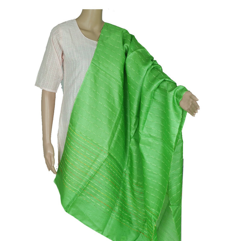 PureTussar Silk Dupatta with Parrot Green