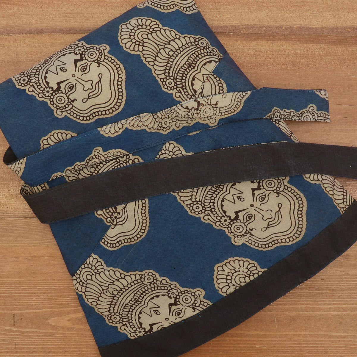 Kalamkari Blue and Black wrap around skirt