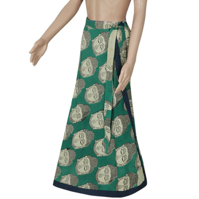 Kalamkari Green and Blue wrap around skirt