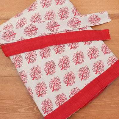 Cotton Off white and Red wrap around skirt