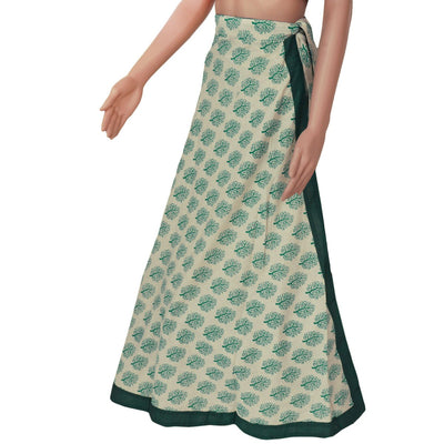 Cotton Off white and Green wrap around skirt
