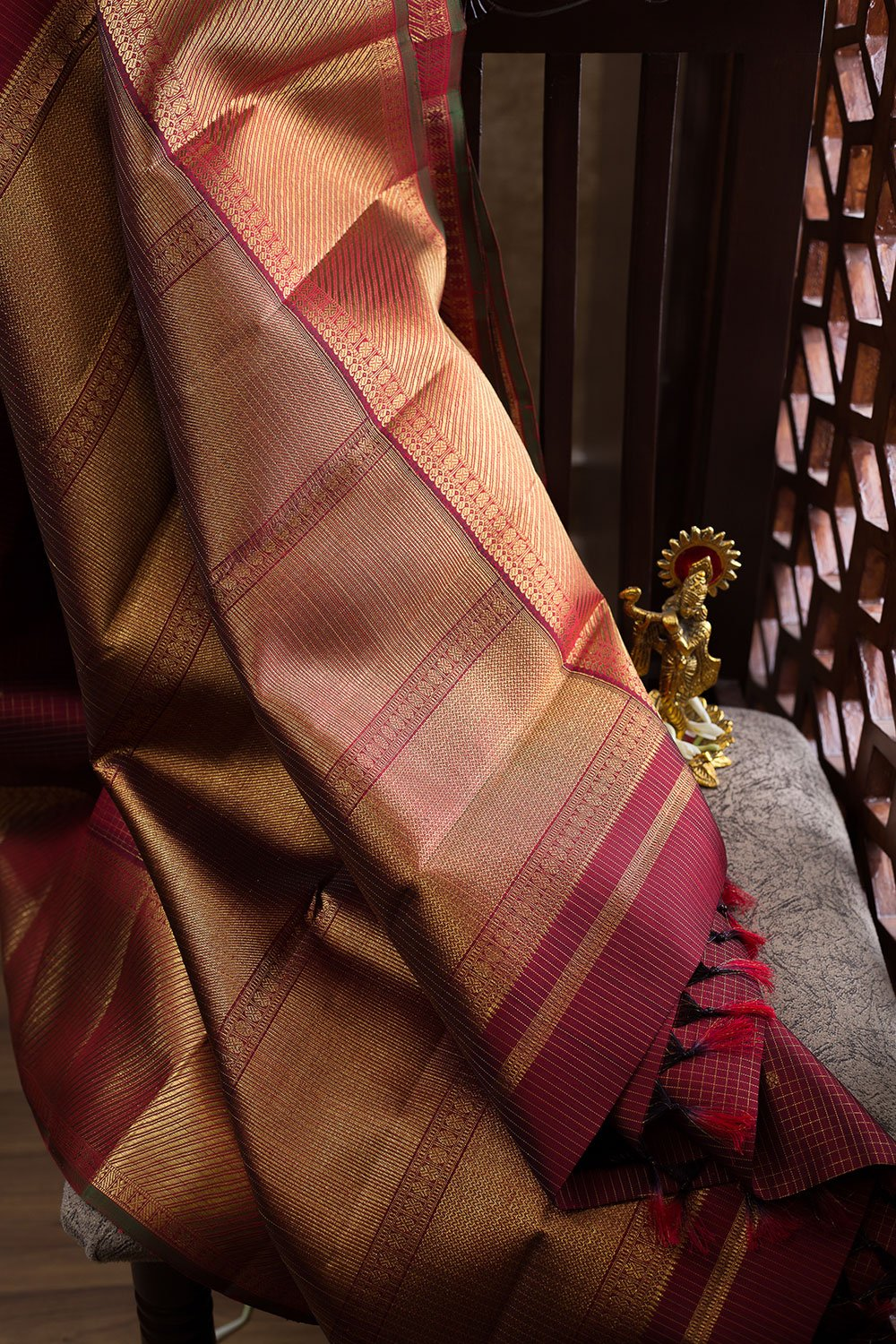 Kanjivaram Silk Sarees Maroon Zari checks with buttas and Zari Border