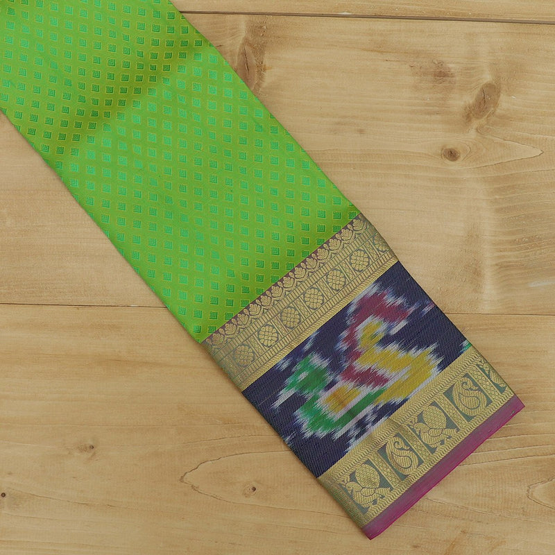 Pure Silk Pavadai material parrot green with pink embose and ikkat border 3 to 5 years