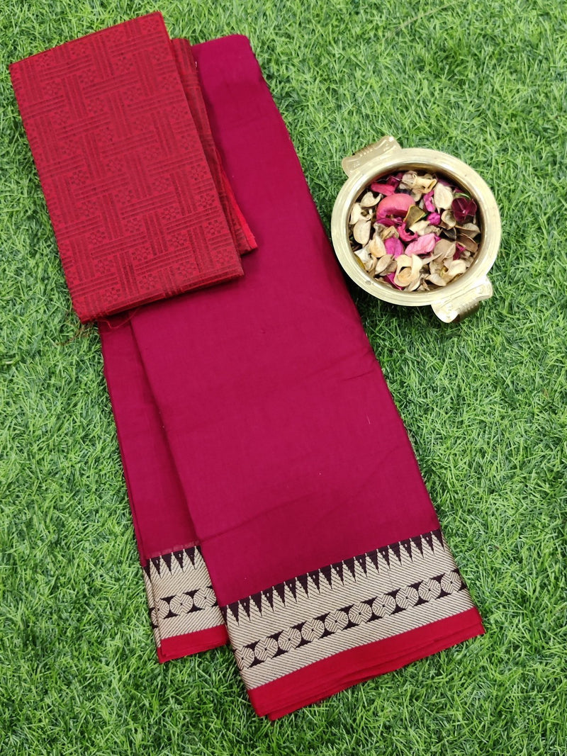 Narayanpet cotton saree pink and beige with woven blouse