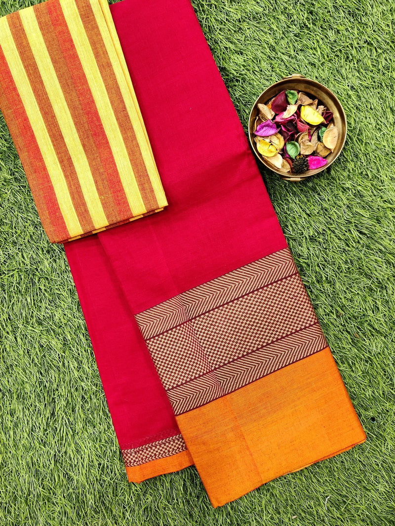 Narayanpet cotton saree red and orange with woven blouse