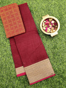Narayanpet cotton saree maroon with woven blouse