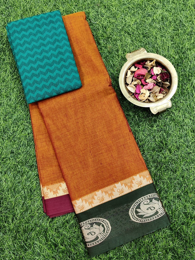 Narayanpet cotton saree orange and green with woven blouse