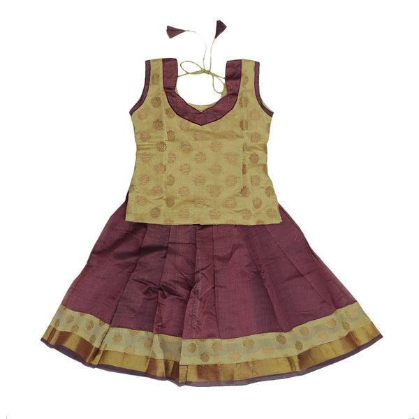 Silk cotton paavadai sattai lavander and sandal brocade blouse with golden zari wave border ( 1 years )