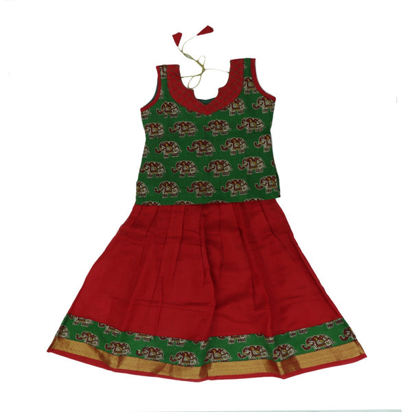 silk cotton Kalamkari Paavadai Sattai red and green with simple zari border ( 3 years )