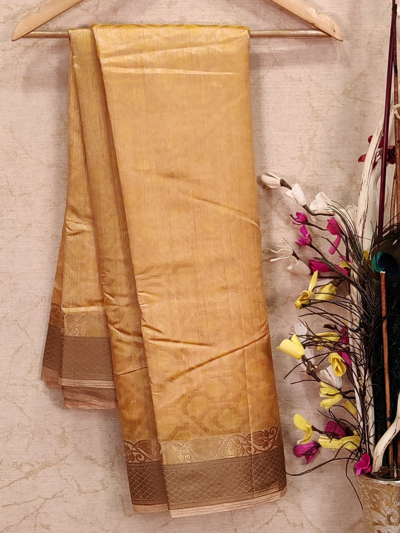 Semi raw silk saree sandal with allover self emboss and woven border