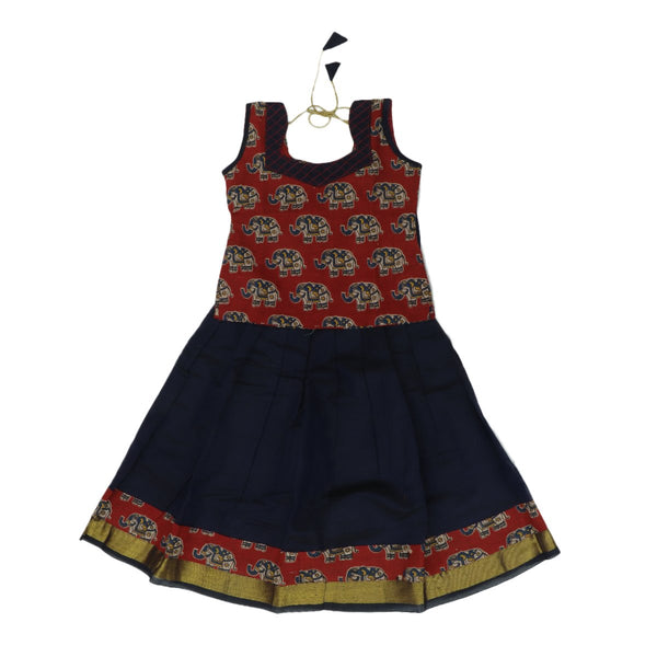 silk cotton Kalamkari Paavadai Sattai navy blue and brown with simple wave zari border ( 3 years )