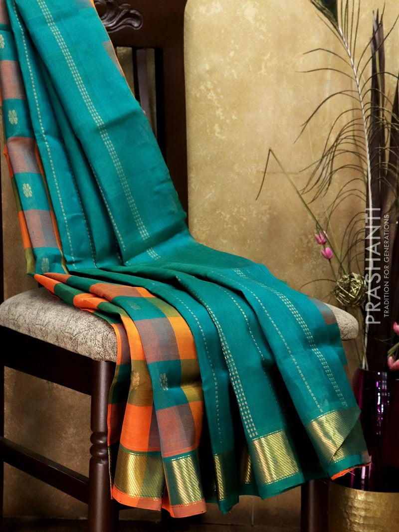 Silk Cotton Saree orange and green paalum pazhamum checks with small zari buttas