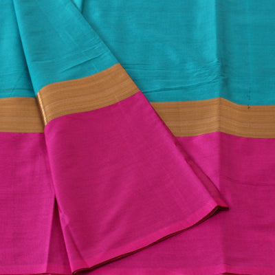 Art Silk Saree Green and Pink with Long Border