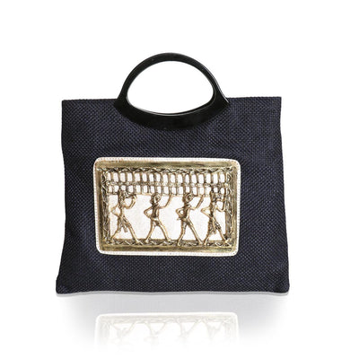 Handbag Navy Blue with Metal Warli Design