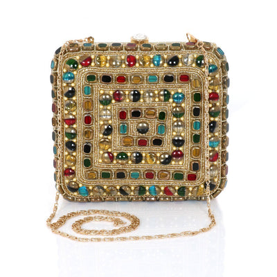 Designer Ethnic clutch with Stone and Beaded work