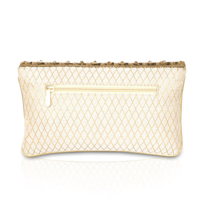 Designer Off White Clutch Diamond Design with Chamki Work